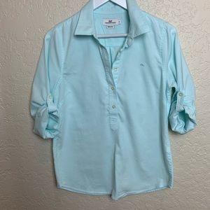 Vineyard Vines half button down shirt. Size 8